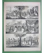 PACIFIC ISLANDS Natives Tonga Australia Aborogines - 1844 Steel Engravin... - $21.78