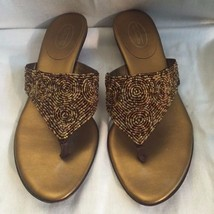TALBOTS Metallic Bronze Brown Beaded Thong Sandals Shoes Size 7.5 Medium - $8.60