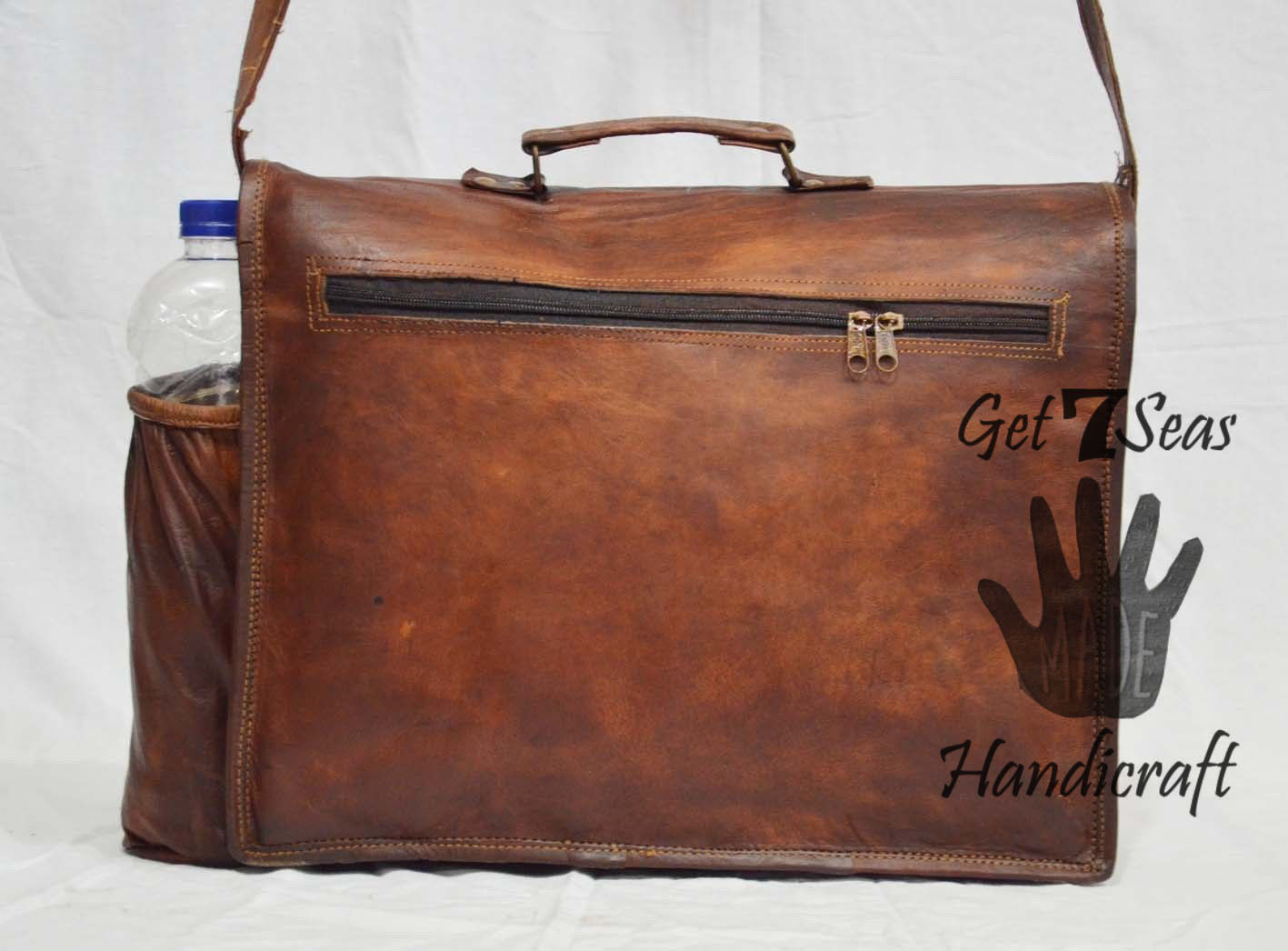 "15"" Mens Brown messenger leather bag satchel Shoulder crossbody laptop briefcase"