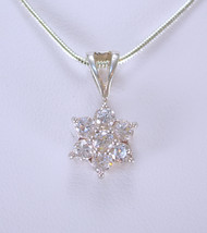 White topaz Star Pendant necklace  Sterling drop Vintage Silver sweethea... - $45.00