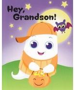 "Greeting Halloween Card Hey, Grandson! ""Pumpkins Grin, Spiders Creep. Ghosts..."" - $1.50"