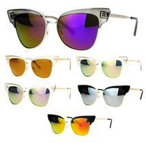 SA106 Metal Outline Cat Eye Half Horn Rim Womens Diva Sunglasses - $12.95