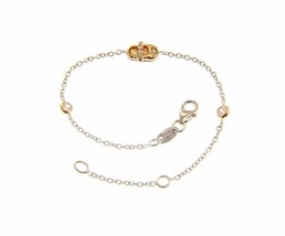 18K ROSE & WHITE GOLD BRACELET FOR KIDS WITH SHOE AND ZIRCONIA MADE IN ITALY image 1