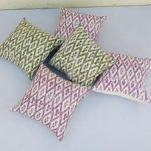 Traditional Jaipur Set of 5 Block Print Fabric Indian Cushions Pillow Covers Dec - $44.54