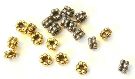 5 Pcs. Double Heishi Spacer Fine Pewter Beads - See Image For Size image 1