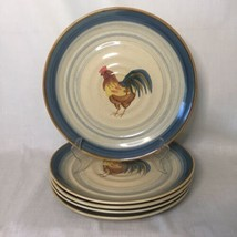 """5 Gibson Everyday Dinner Plates Stoneware Ocean Dream Rooster 10 3/4"""" - $49.49"""