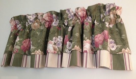 JC Penney Green Floral Layered Stripe Blouson Valance 83 x 19 USA Made - $25.73