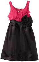 Bonnie Jean Tween Big Girls' Chiffon Bodice To Satin Skirt Dress, Fuschia, 7