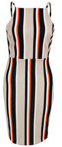 New Womens Ladies Strappy Stripe Detail Midi Bodycon Dress Size 8 10 12 ... - $251,37 MXN