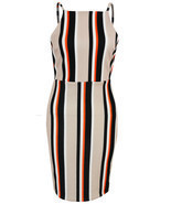 New Womens Ladies Strappy Stripe Detail Midi Bodycon Dress Size 8 10 12 ... - £10.04 GBP