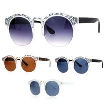 SA106 Womens Metal Diecut Floral Half Rim Round Sunglasses - $12.95