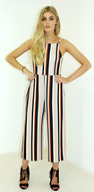New Ladies women Stripe Wide Leg Pleated Flare Cropped Jumpsuit Culotte - $18.52