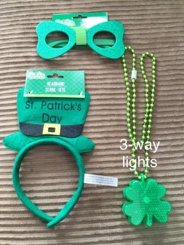 Primary image for Lot of 3 St Patricks Day Irish Party Favors HEADBAND LED NECKLACE GLASSES