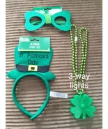 Lot of 3 St Patricks Day Irish Party Favors HEADBAND LED NECKLACE GLASSES - $9.90