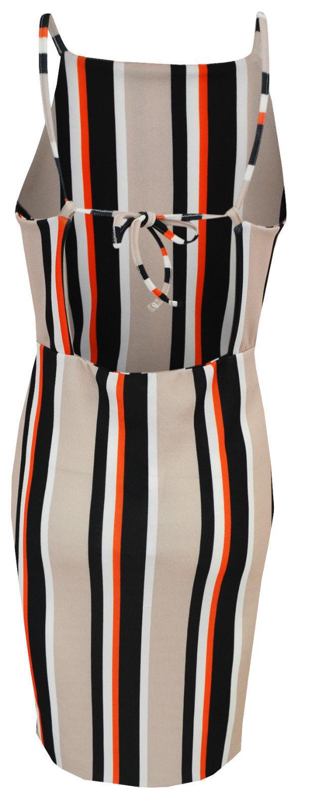 New Womens Ladies Strappy Stripe Detail Midi Bodycon Dress Size 8 10 12 14 UK