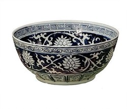 Large Chinese Blue and White Porcelain Lily Bowl,15.5''W X 6''H. - $296.01