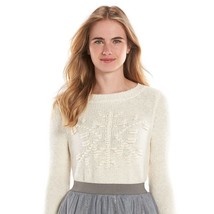 LC LAUREN CONRAD Textured Crewneck gardenia Sweater size XS NEW - $27.64