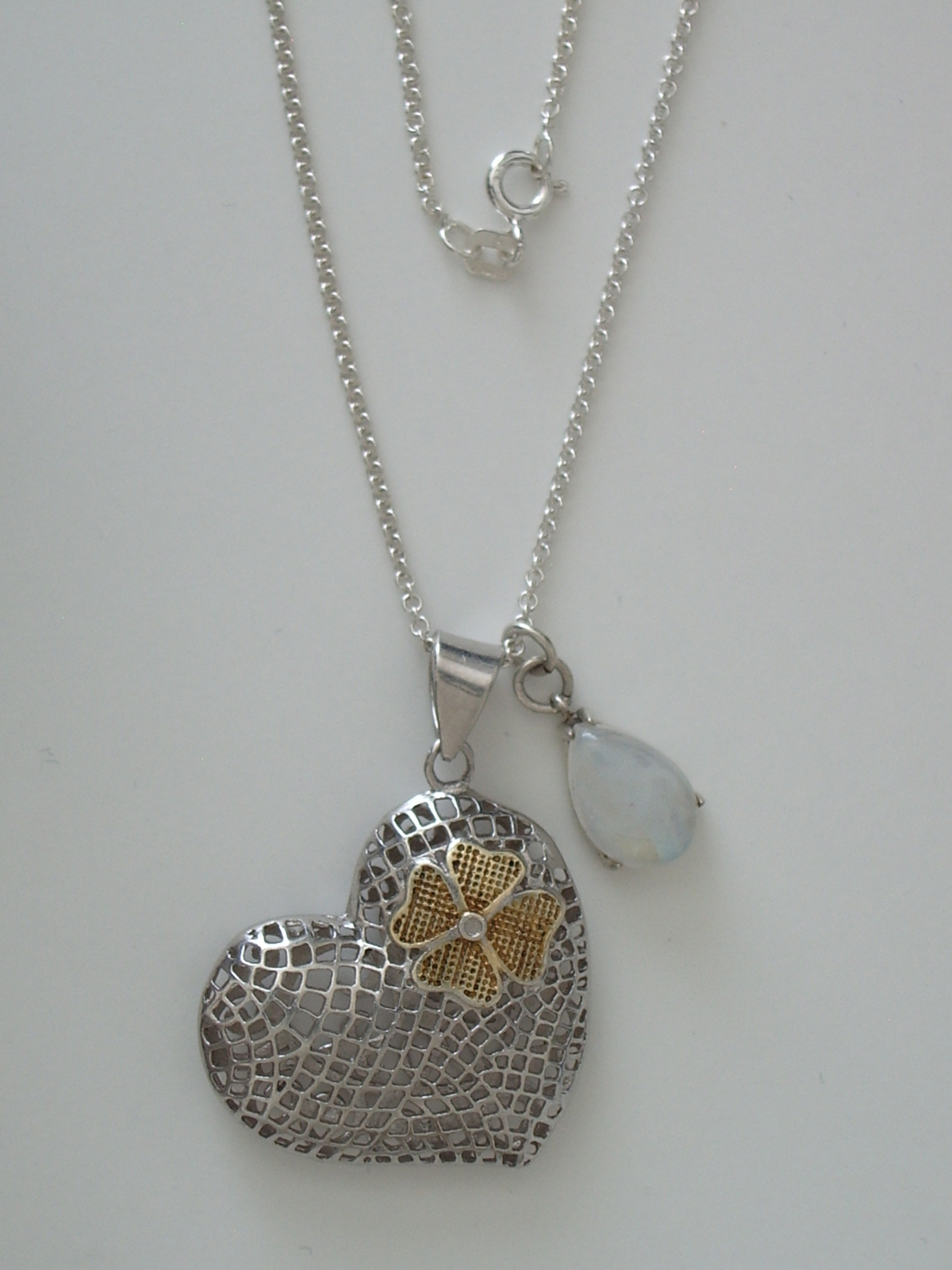 "Primary image for Sterling Silver Mesh Heart and Blue Moonstone Teardrop Pendants w/ 18"" 1.7 mm St"