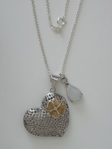"Sterling Silver Mesh Heart and Blue Moonstone Teardrop Pendants w/ 18"" 1... - $124.00"