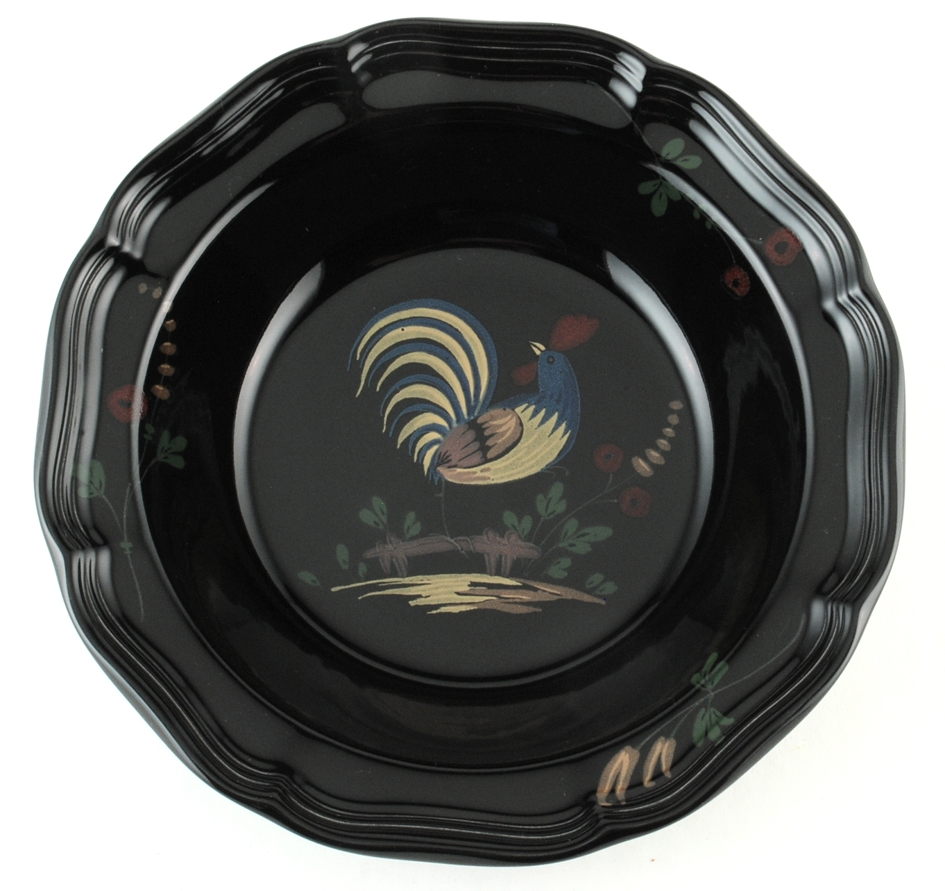 "Mikasa Country Hearth Bon Jour 9.5"" Vegetable Serving Bowl Black w Rooster New - $18.00"