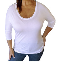 Sexy White Rayon Plus Size Scoop Neck Stretchy Low-Cut Casual Shirt Top ... - $12.79
