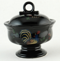 Mikasa Country Hearth Bon Jour Sugar Bowl w Lid Black w Rooster C8701 New - $27.99