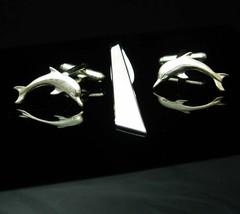Vintage Dolphin Cufflinks Shields Tie clip sea god Nautical Mythology Porpoise C - $95.00