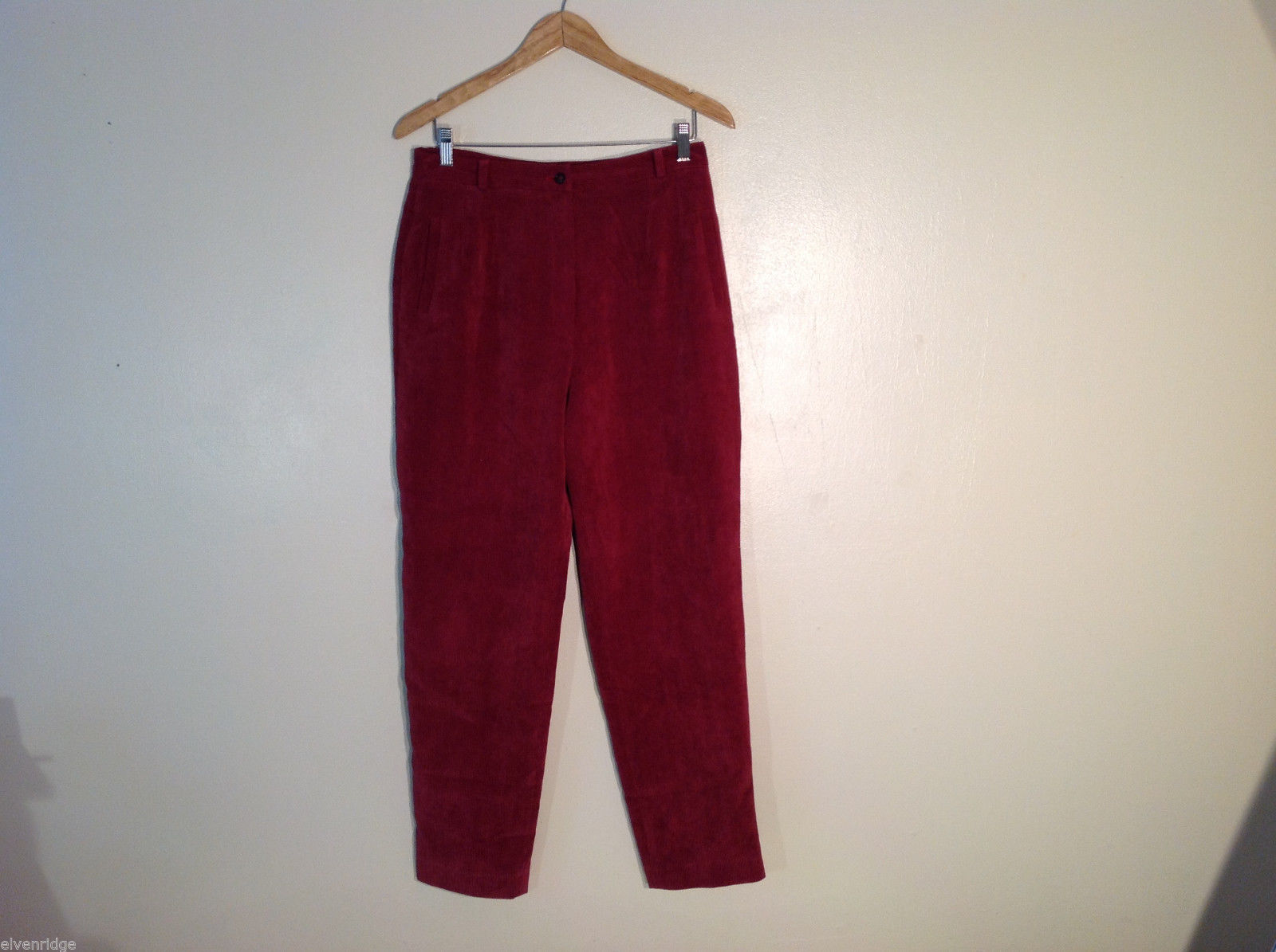 Kerrymara Women's Size L Corduroy Pants Rusty Red Side Pockets Belt Loops Button