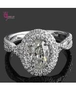 1.98 Carat Double Halo Oval Shaped Diamond Engagement Ring Twisted Band ... - $3,850.11
