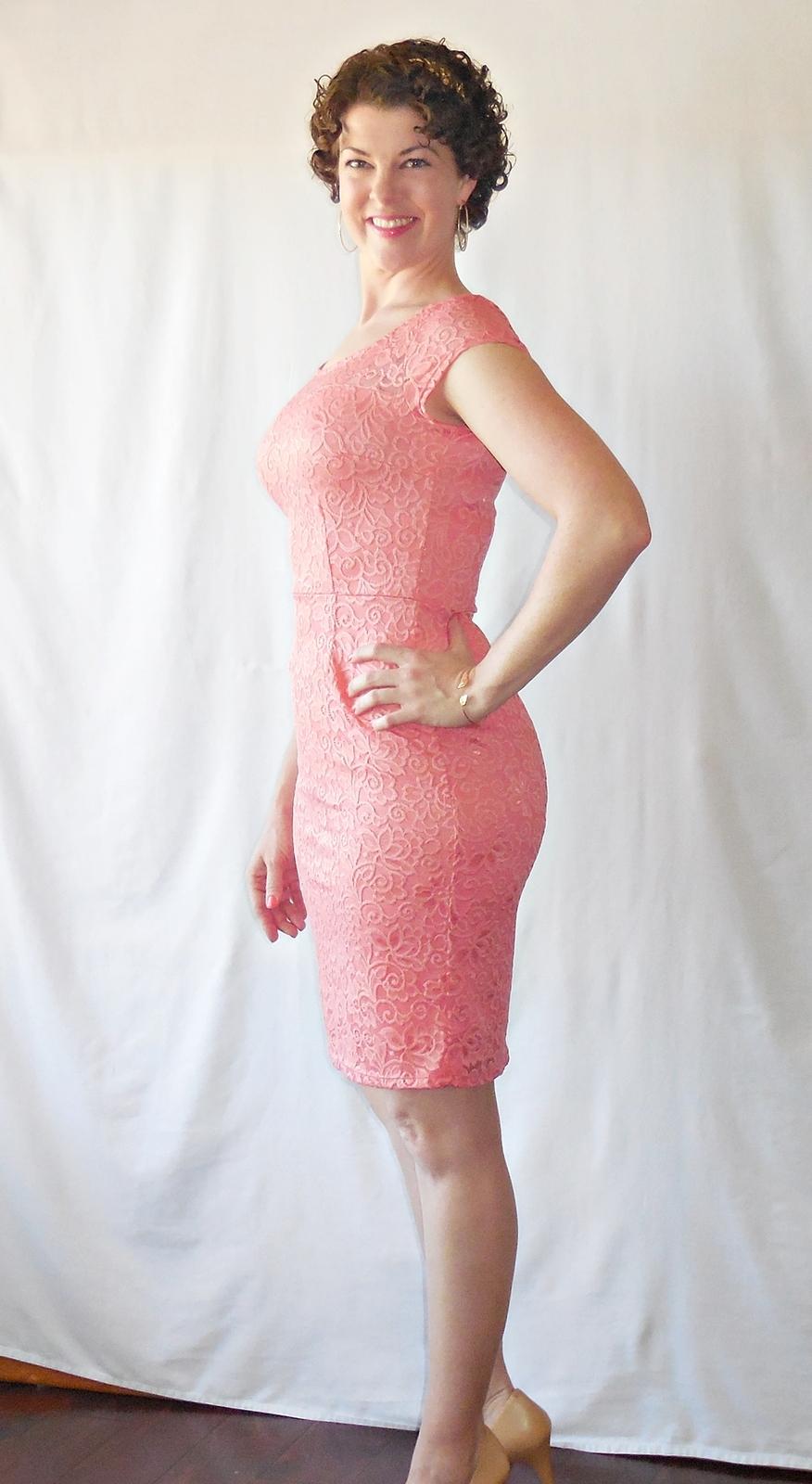 e367d43aac6 Peach Lace Bodycon Dress with Pencil Skirt