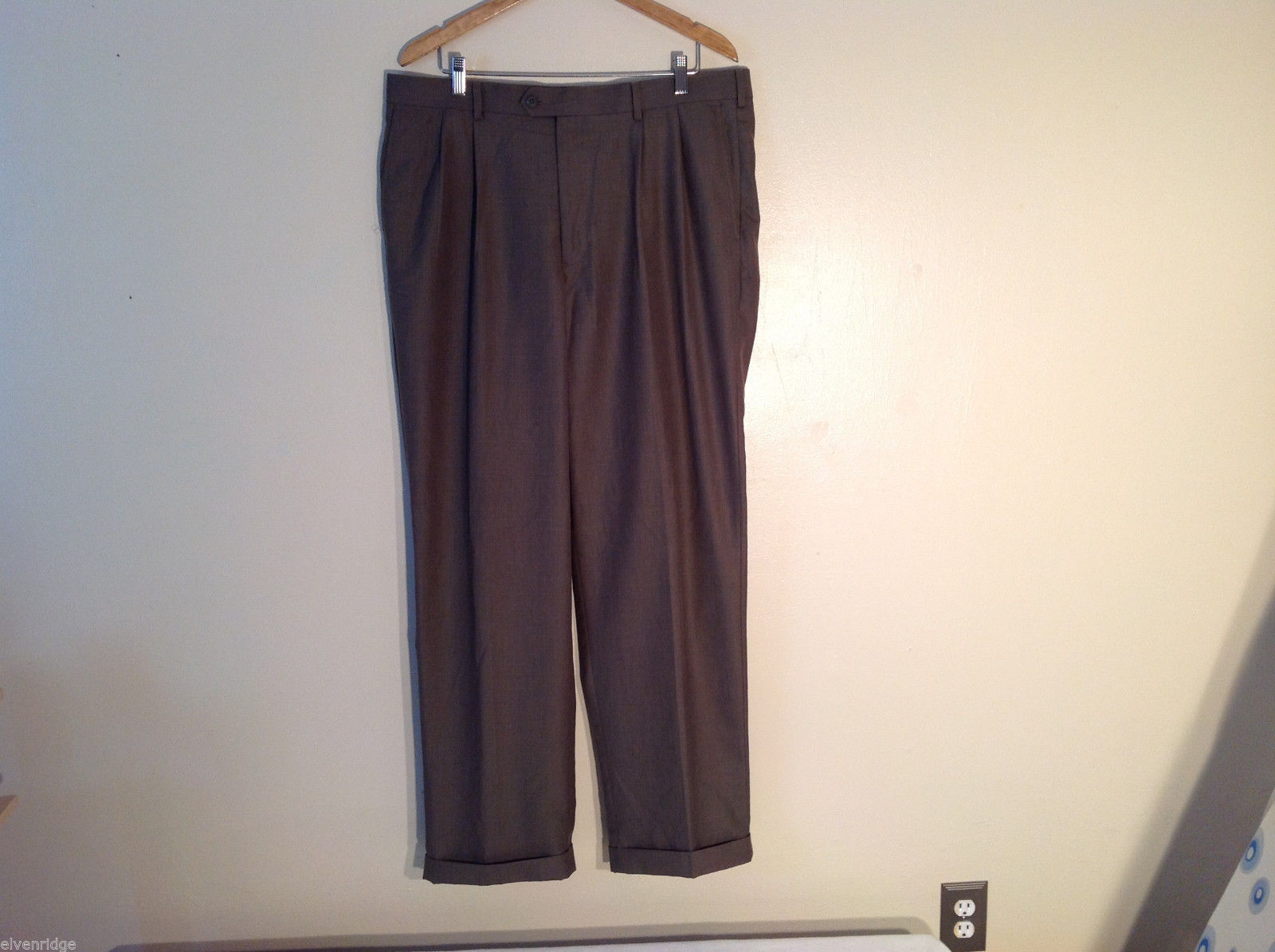 "Perry Ellis America Men's Size L 38/34 Brown Dress Pants Pleated, 1"" Cuffed Legs"