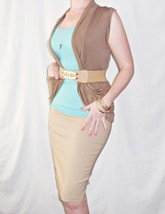 Tan Fitted Pencil Skirt, Casual Work Bodycon, Knee Length Midi, Wardrobe Staple image 4