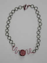 Handmade Necklace Dark Gray Chain Links Fuchsia Copper Wire Swarovski Cr... - $26.00