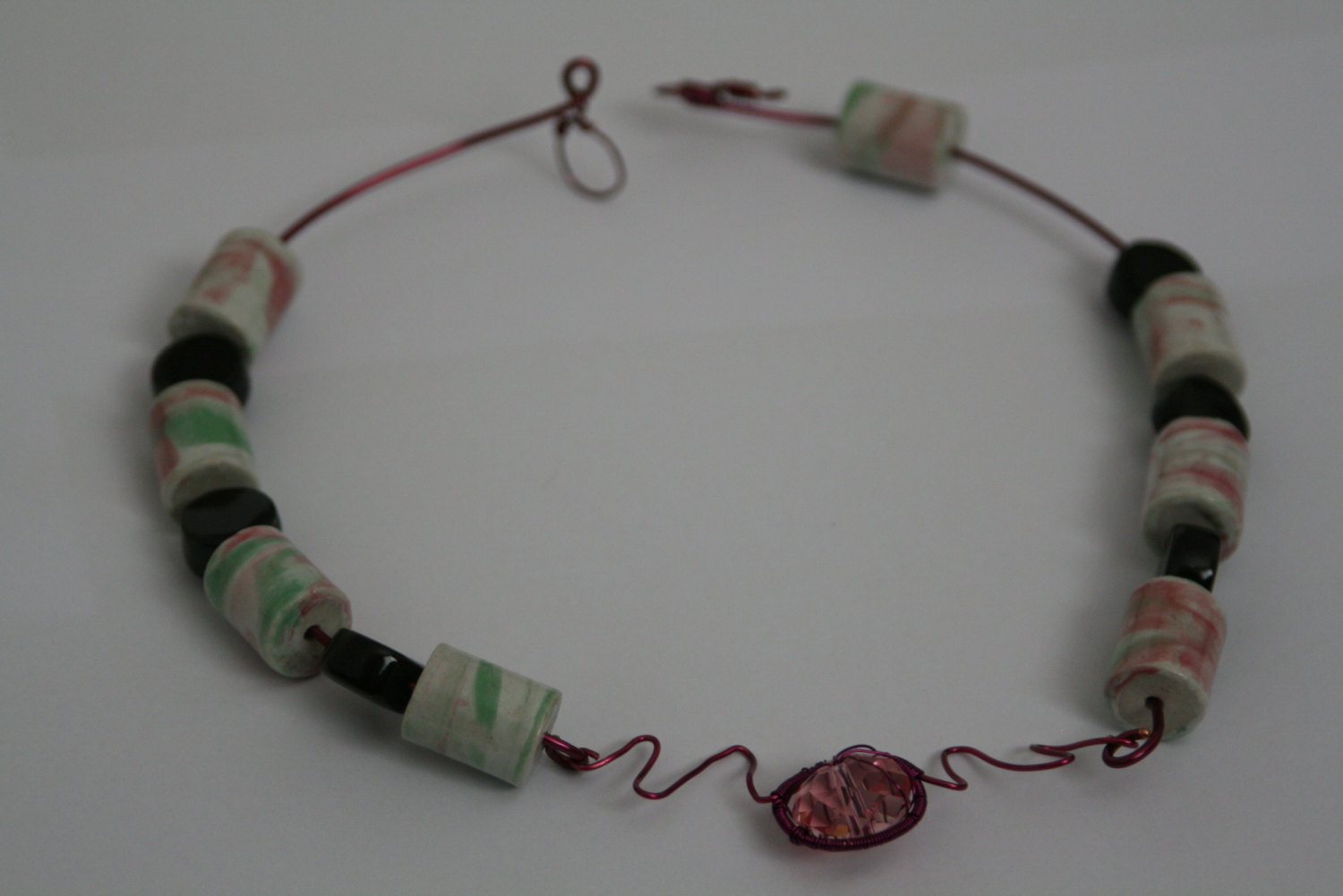 Handmade Necklace Fuchsia Pink Copper Wire Swarovski Crystal Porcelain Beads