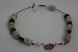 Handmade Necklace Fuchsia Pink Copper Wire Swarovski Crystal Porcelain B... - $29.00