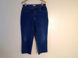 St. John's Bay Women's Size 16 Denim Jeans Dark Blue Wash Wide Straight Leg