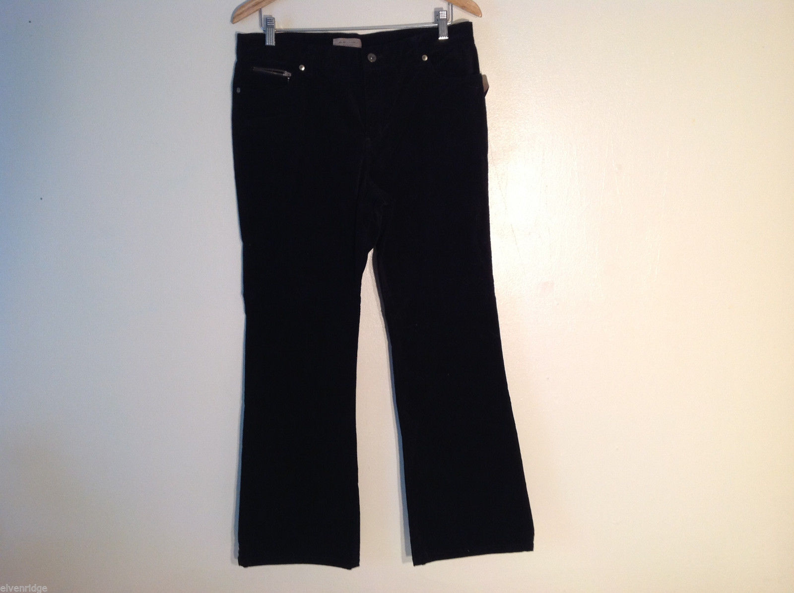 i.e. Women's Petite Size 14, 14P Pants Relaxed Fit Stretch Black Brushed Velvet