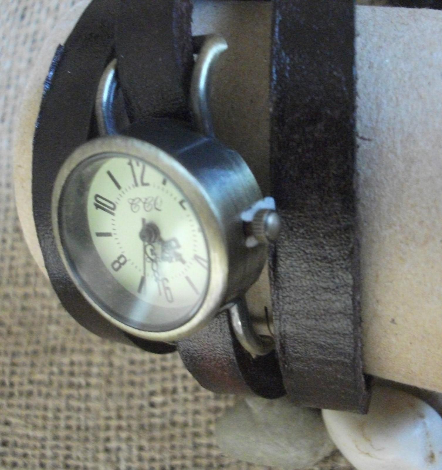 Watch wrap around leather strap