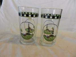 "Set of 2 Lighthouse & Sea Scene 5.25"" Tall Drink Glasses - $19.79"
