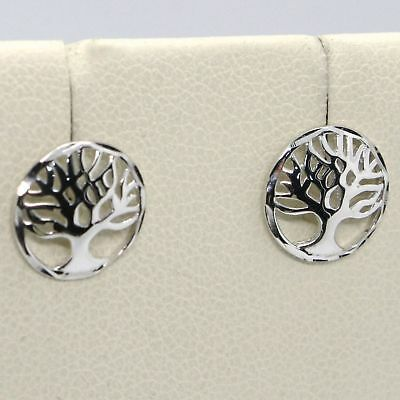 White Gold Earrings 18k Round with Tree of Life Made in Italy