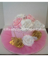1 Tier Pink Gold and White Roses Tutu Themed Baby Girl Shower Diaper Cake - $25.00
