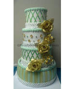 Mint Green Gold and White Themed Baby Shower Decor 4 Tier Elegant Diaper... - $65.00