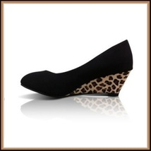 Black PU Leather Pointed Toe Leopard Print Thin Wedge Platform Heel Slingbacks