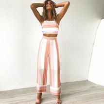 Women's Pink Parcel Striped Two-Piece Crop Top Pants Set