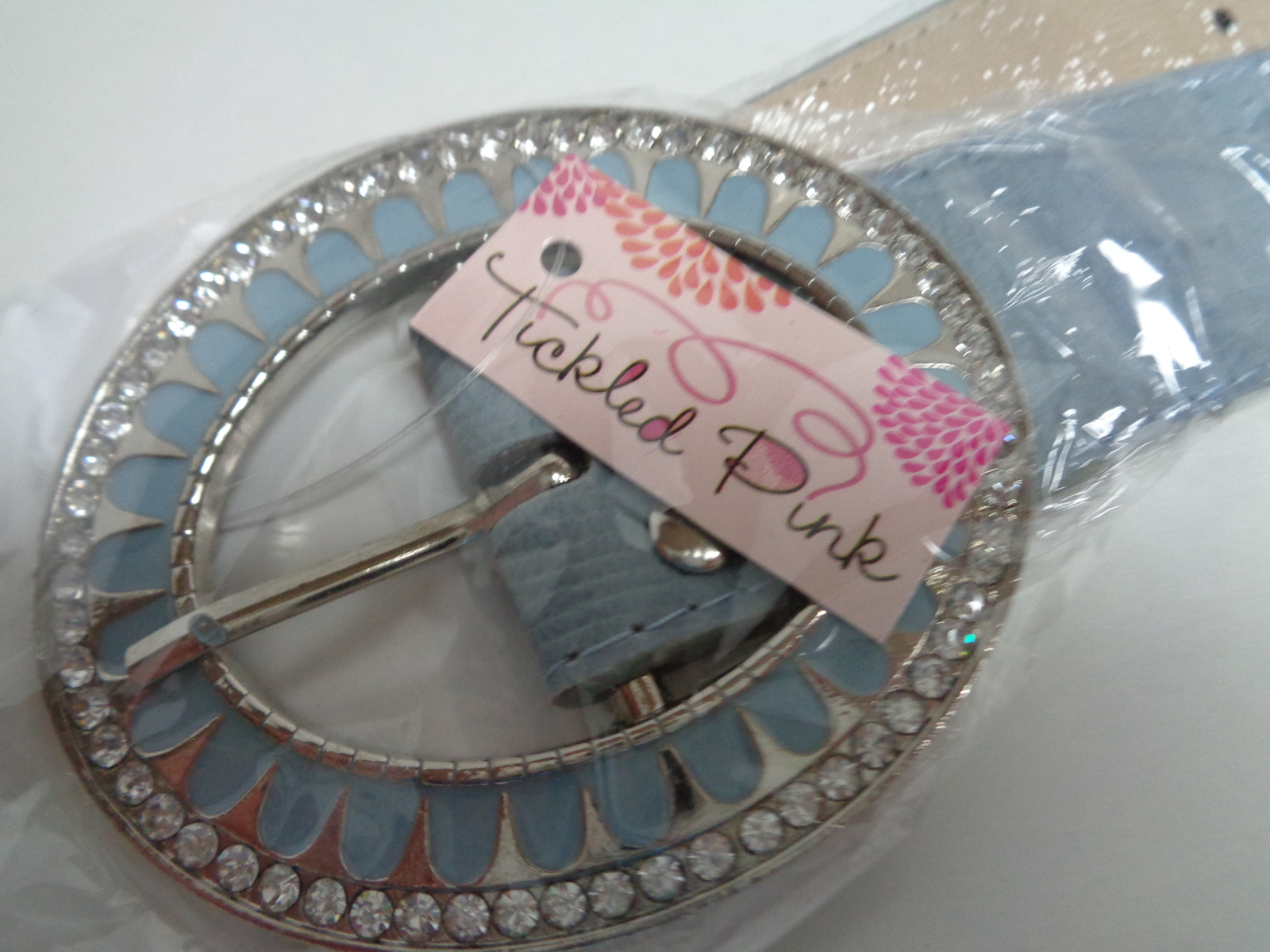 Tickled Pink Blue Faux Leather Belt & Accented Buckle NWT 43""