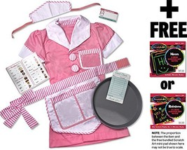Waitress: Role Play Costume + Melissa & Doug Scratch Art Mini-Pad Bundle... - $29.45