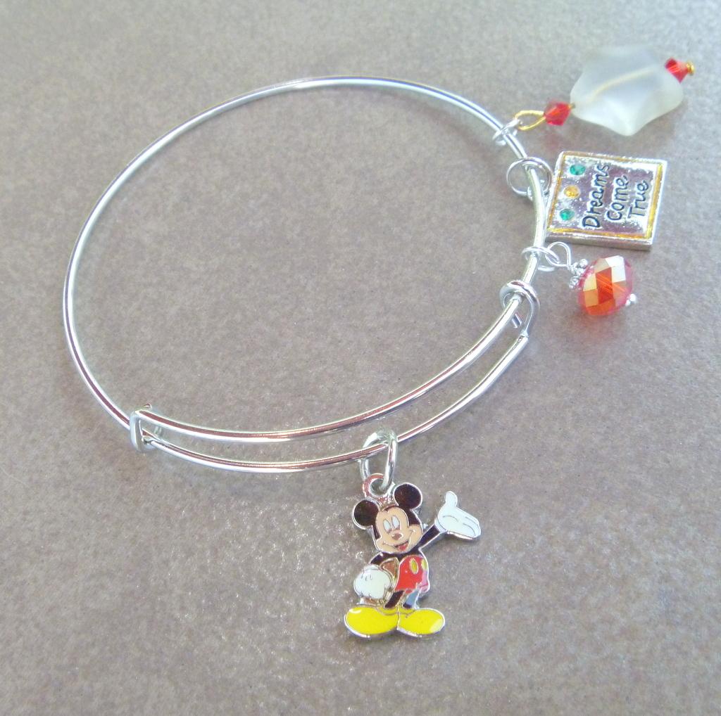 Mickey Mouse Charm Bracelet: Mickey Mouse Charm Adjustable Bangle Bracelet