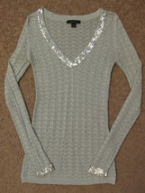 Express Womens Stretch Gray Sheer Glittered Knit Sweater Long Blouse Top... - $11.99