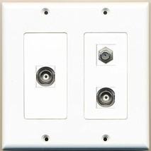 RiteAV - 1 Port Coax Cable TV- F-Type 2 Port BNC - 2 Gang Wall Plate - $21.49