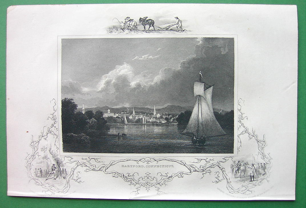 CONNECTICUT View of Hartford - 1840 Original Print Engraving
